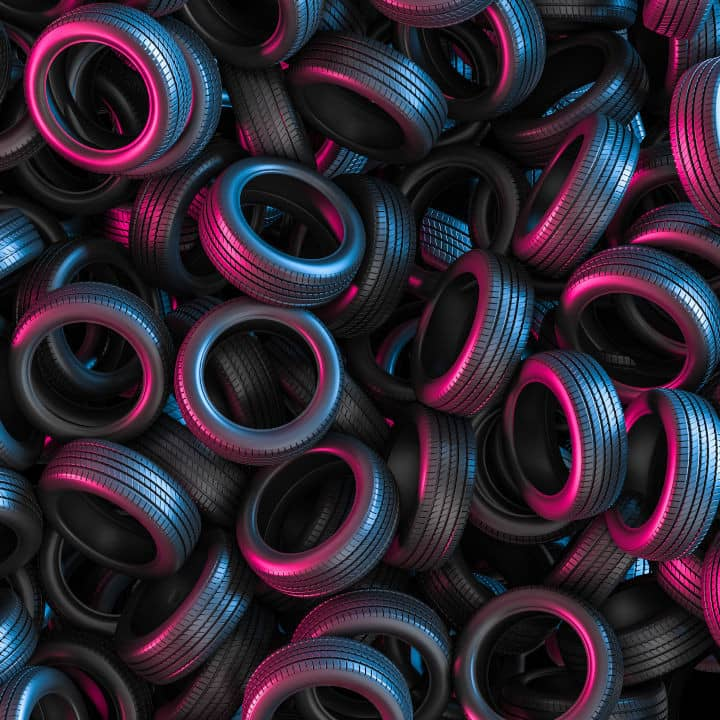 3d render of group of car tires purple and blue square