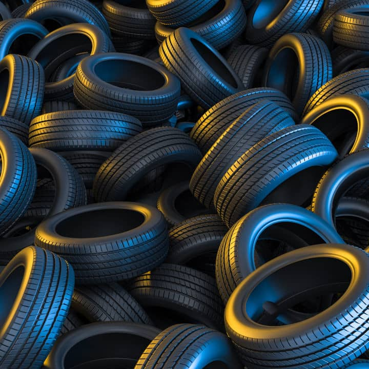 car tires conceptual background with yellow and blue lights 3d square
